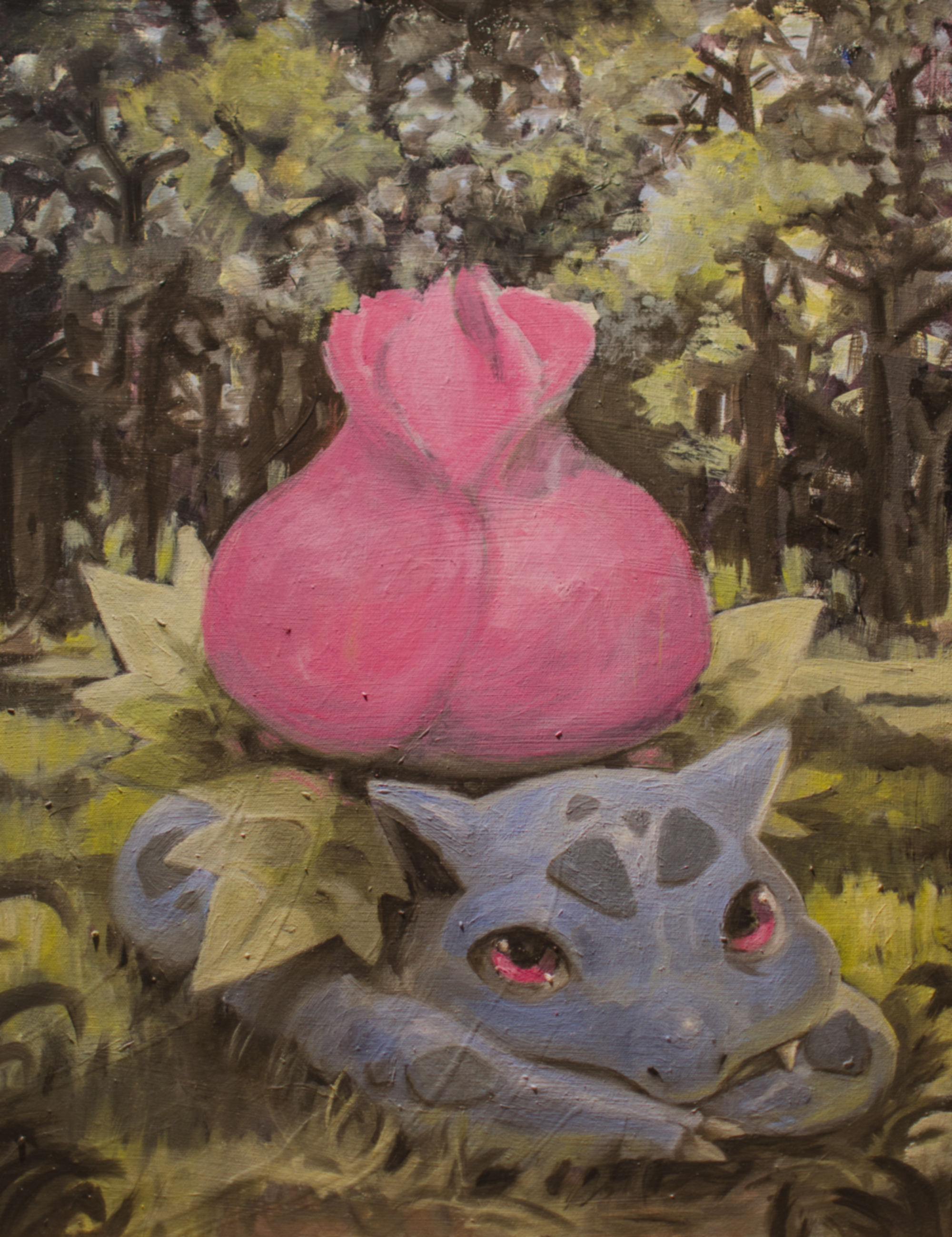 Ivysaur: Acrylic and oil on canvas. Inspired by gen III's Pokedex entry: